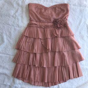 Blush Pink Silk Ruffle Party Dress